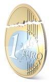 Broken euro eggshaped. Rendering on white Royalty Free Stock Photography