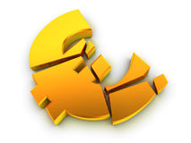 Broken euro sign. Isolated on white. Financial problem concept Royalty Free Stock Photography