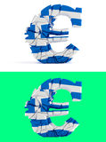 Broken euro sign - greece flag Stock Photo