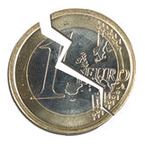 Broken euro zone coin over white, split. Political, economic metaphor - the European currency is divided