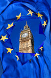 Broken European Union flag against Big Ben in London, England, UK Stock Images