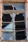 Broken exponeringsglas och fönster Arkivfoto