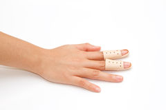 Broken Finger in a splint Royalty Free Stock Images