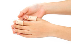 Broken Finger in a splint Stock Photo