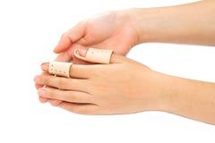 Broken Finger in a splint Stock Photo