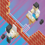 Broken firewall between two workers. Illustration of the concept of a broken brick wall between two workers, in isometric old video game style. The grunge Royalty Free Stock Photo