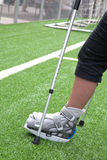 Broken foot, crutches - sports injury Royalty Free Stock Photo