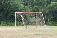 Broken football net Royalty Free Stock Image