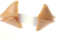 Broken fortune cookie with blank message Royalty Free Stock Images