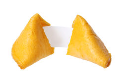Broken fortune cookie with blank slip isolated Royalty Free Stock Photos