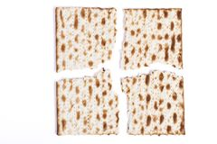 Broken in Four. Isolated Broken in Four Square Matzah Shmura Saved Jewish Pesach Tradition Stock Images