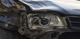 Broken front right car headlight got in an accident Royalty Free Stock Images