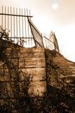Broken Gate. On deserted urban bridge stock images