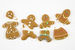 Broken gingerbread cookies. Royalty Free Stock Images