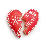 Broken gingerbread heart Stock Images