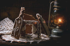 Broken gingerbread house Royalty Free Stock Photo