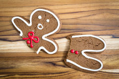 Broken gingerbread man Royalty Free Stock Photos