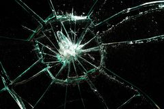 Broken glass. On a black background Royalty Free Stock Photo