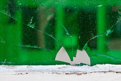 Broken glass. Green glass which is shattered Stock Photo