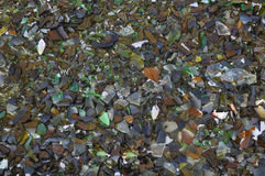 Broken glass. Waste sorting - Broken glass bottle pieces useful as a background stock image