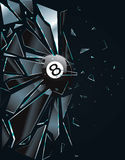 Broken Glass 8 Ball. Vector Drawing Royalty Free Illustration