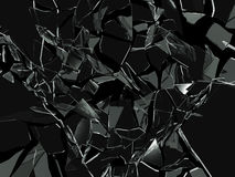 Broken glass. Abstract broken glass on black Stock Images