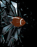 Broken Glass American Football Ball Stock Image