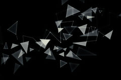 Broken glass backdrop. Polygonal broken glass pattern on dark backdrop. 3D Rendering Stock Image