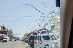 A broken glass window stock images