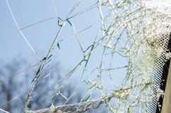 A broken glass window stock photo