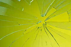 Broken glass. In background green Stock Image