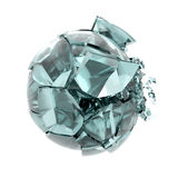 Broken glass ball. 3d render broken cracked transparent glass ball Royalty Free Stock Photography