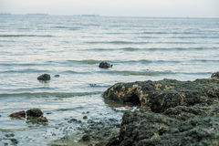 Broken glass bottle on sea beach. Is water pollution stock photos