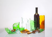 Broken glass bottles Stock Photos