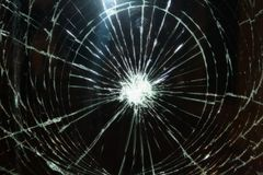 Broken glass. On a black background royalty free stock image