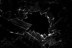 Broken glass. On a black background stock photos