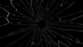 Broken glass with bullet hole isolated on black background. 3D illustration Stock Photo