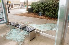 Broken glass at the bus stop Royalty Free Stock Photos