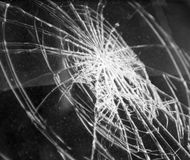 Broken glass in car. Abstract black-and-white background Royalty Free Stock Photo