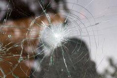 Broken glass of a car stock photos