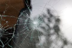Broken glass of a car royalty free stock image