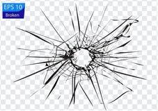 Broken glass, cracks, bullet marks on glass. High resolution royalty free illustration