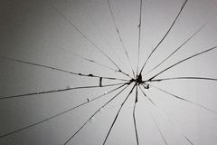 Broken glass cracks Stock Photos