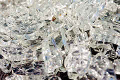 Broken glass crystals in the big car accident Stock Image