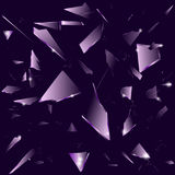 Broken glass on the dark purple background Royalty Free Stock Photo