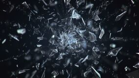 Broken Glass Exploding Against Black Background. In 4K royalty free illustration