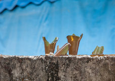 Broken glass on fence ,to protect Stock Photo