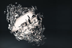 Broken glass figure. Abstract broken glass figure on dark background. 3D Rendering Stock Photos
