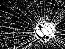 Broken Glass Fist One Color Illustration. Broken Glass Fist. One Color Illustration vector illustration