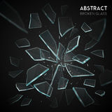 Broken Glass Flying Fragments Dark Background. Broken glass shatters various geometric forms sharp pieces spreading and flying apart on black background  vector Royalty Free Stock Photo